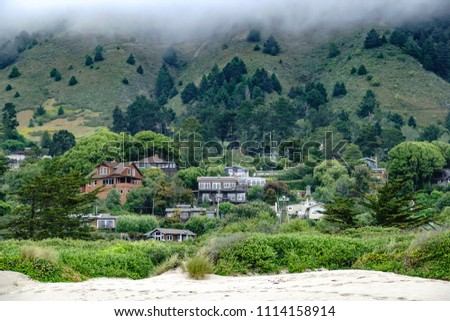 Partial view of Stinson Beach in Marin County, California, USA, between edge of sandy beach and fog over wooded foot of mountain, near the end of May #1114158914