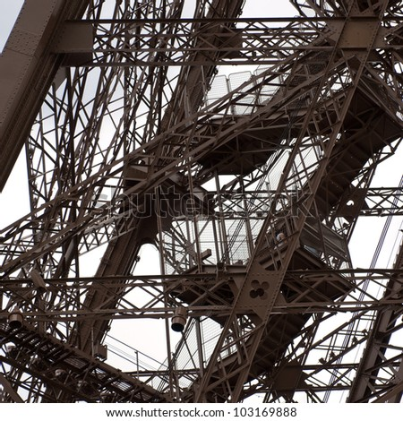 Partial view of the Eiffel tower with details