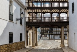 Partial view of the square of Tembleque. This square is typical of Spanish architecture. Toledo. Spain.