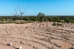 Partial view of the stone labyrinth at Nettleton's First Shaft Lookout in Lightning Ridge, New South Wales, Australia