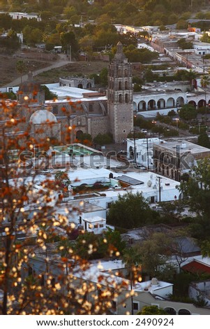 partial view of the town of Alamos with its colonial buildings and archways in the northern state of Sonora, Mexico, Latin America
