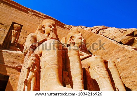 Partial view of two massive rock temples, The twin temples were originally carved out of the mountainside during the reign of Pharaoh Ramesses II #1034216926
