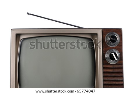 Partial view of vintage television with antenna isolated over white background - stock photo