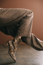 partial view of woman in pants and boot with snakeskin print on brown