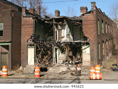 Partially demolished building.