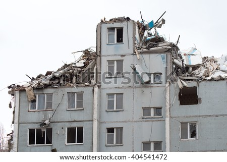 Partially destroyed building