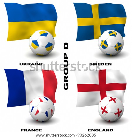 Participating teams of Group D of Europe's biggest soccer competition. Easy to edit and use.