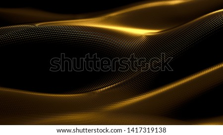 Particle drapery luxury gold background. 3d illustration, 3d rendering.
