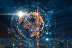particle earth with technology network circle over the photo blurred of cityscape background, technology and innovation, futuristic and cloud computing, internet of thing and 3d rendering,concept
