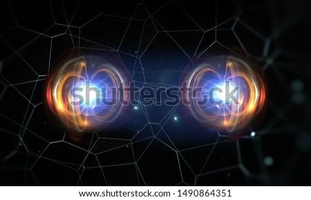 Particle, quantum entanglement (quantum correlation). 3d illustration