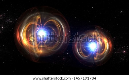 Particle, quantum entanglement (quantum correlation). Quantum mechanics . 3d illustration