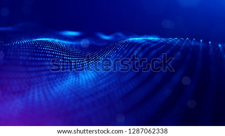Particles form line and surface grid. 3d rendering. Science fiction background of glowing particles with depth of field and bokeh. Motion graphics microwold. Blue 40
