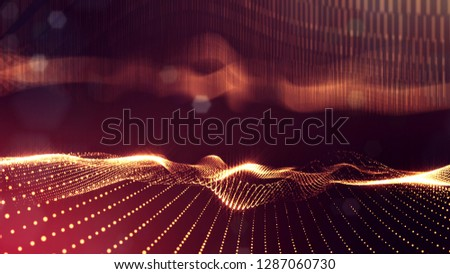 Particles form line and surface grid. 3d rendering. Science fiction golden background of glowing particles with depth of field and bokeh. Motion graphics microwold. 18