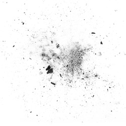 particles of charcoal on a white background