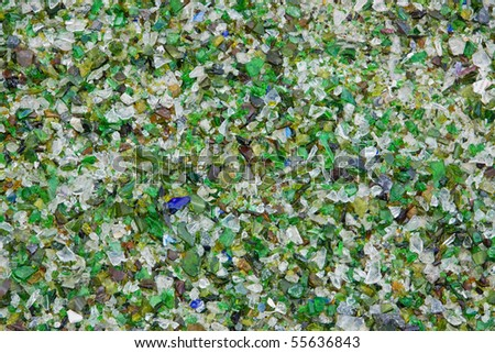 Particles of crushed shattered glass at a recycling facility in the UK