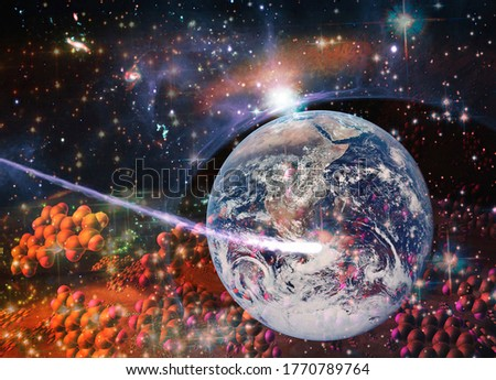 Particles of DNA strands flying through space to Earth. Concept of the origin of life. Elements of this image furnished by NASA.  Stock photo ©