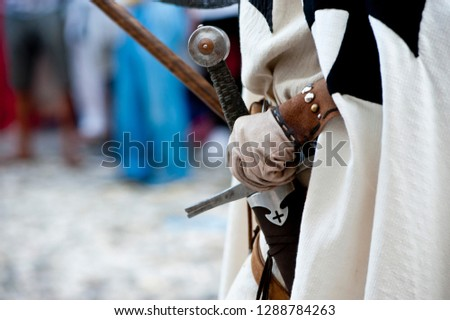 Particular of a soldier of the crusades that parades the annual re-enactment of the spilimbergo macia.