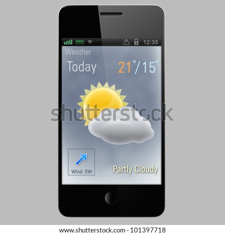 Partly cloudy  icon on a screen of smart phone