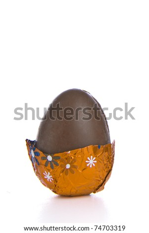 partly unwrapped chocolated easter egg isolated