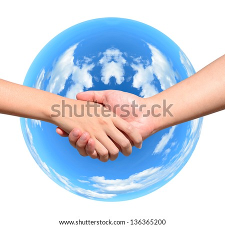 Partner hand between a man and a woman on blue planet world in signal of protection and conservation