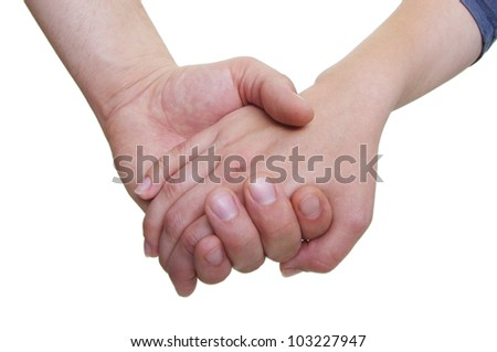 partners holding hands on white background