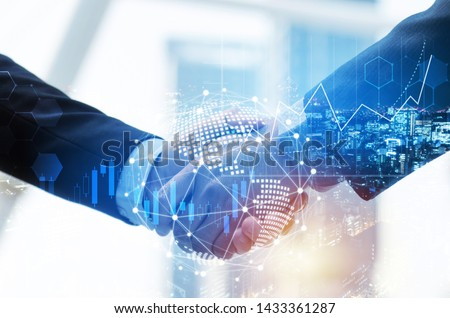Partnership. investor business man handshake with partner for successful project meeting, with world map global network link connection and city background, investment, partnership, teamwork concept