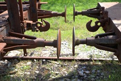parts from old wagon, old buffer in railway carriage, hook wagon