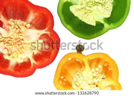 Parts of colorful sweet bell pepper.  with a clipping path