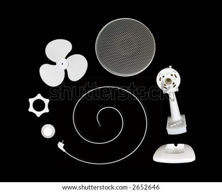 Parts of fan on spiral, isolated on black