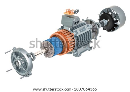 Parts of industrial electric motor, 3D rendering isolated on white background Stock fotó ©