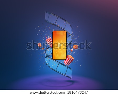 party and watching movies cinema online Entertainment media on smartphone with popcorn film strip speaker and paper confetti. Multimedia application service. object clipping path. 3D Illustration. stock photo