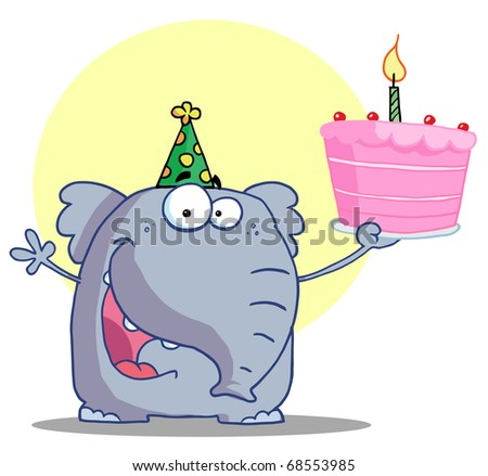 Party Animal, An Elephant, Wearing A Green Party Hat And Holding Up A Birthday Cake With A Lit Candle