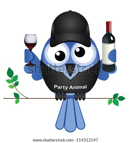 Party Animal bird sat on a branch isolated on white background