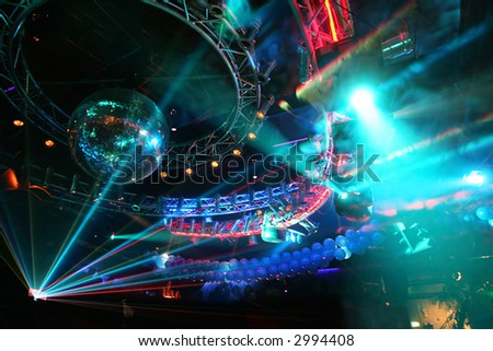 Party at Large Disco with special effects and fantastic laser show in smoke