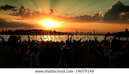 party at the river in the city of Pavlodar