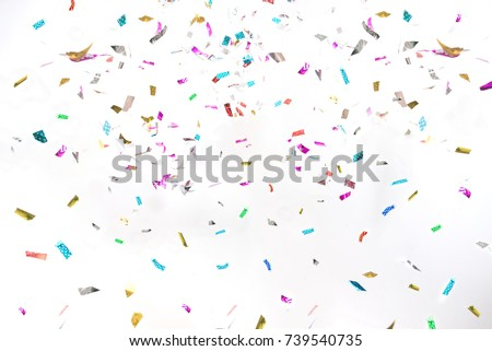 Party Background Colorful Glitter Confetti on White for Texture , Advertisement , Cover , Card #739540735