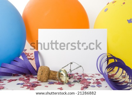 Party background with a white card for message