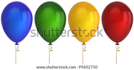 Party balloon birthday balloons 4 four decoration blue green yellow red. Baloons blank design element greeting card. Anniversary celebrate holiday concept. 3d render isolated on white background