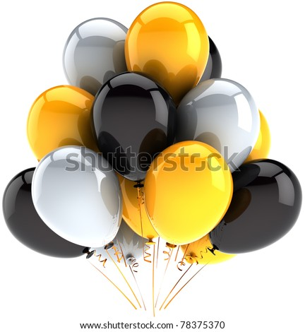 Party balloon birthday balloons party celebrate decoration white black yellow baloons multicolor. Happy joy positive abstract. Anniversary greeting card concept. 3d render isolated on white background