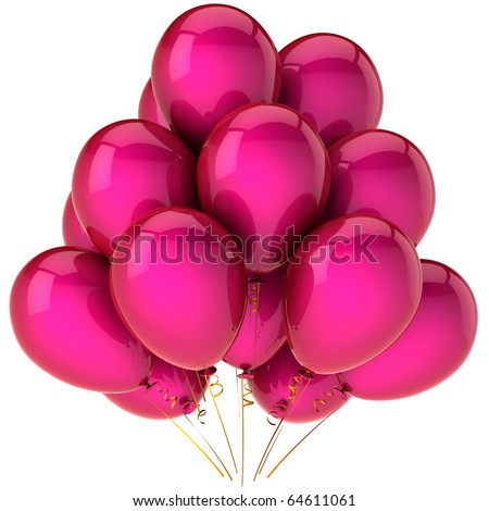 Party balloon birthday balloons pink love. Greeting card design element concept. Retirement graduation anniversary happy joy positive emotion abstract. 3d render isolated on white background