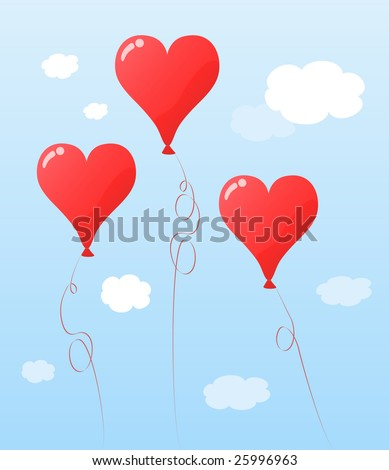 Party balloon shaped like red heart floating among clouds #25996963