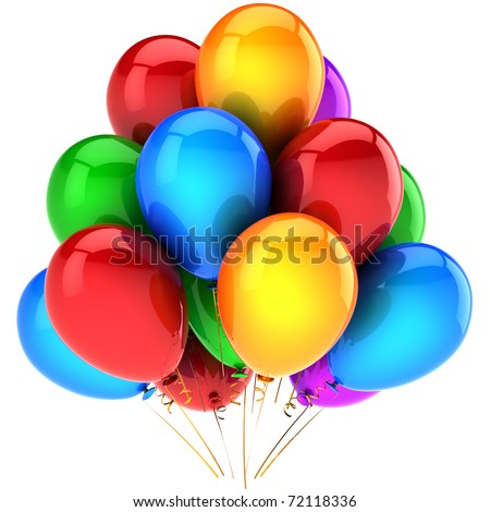 Party balloons attractive birthday holiday celebrate colorful decoration anniversary graduation retirement occasion life events greeting card design element. 3d render isolated on white background
