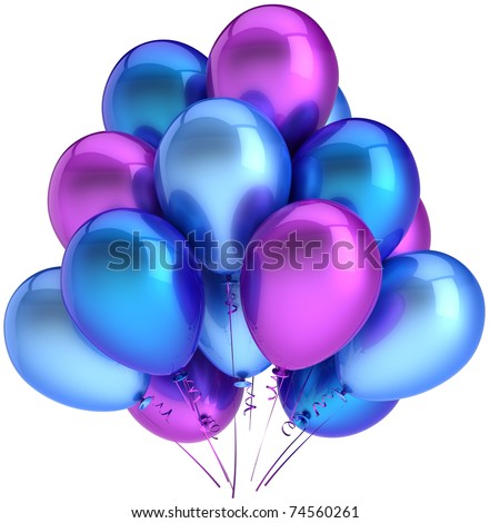 Party balloons birthday balloon decoration blue cyan purple multicolor. Anniversary graduation retirement holiday occasion life events greeting card concept. 3d render isolated on white background