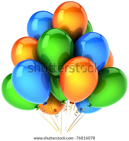 Party balloons birthday decoration balloon multicolor blue green orange. Holiday anniversary celebration positive concept. 3d render isolated on white background
