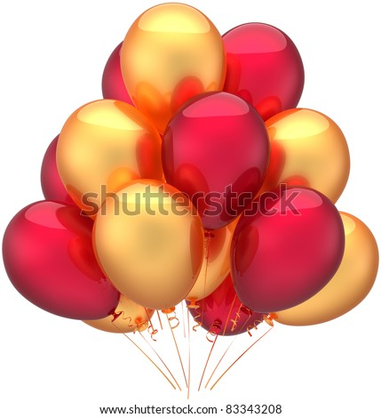 Party balloons birthday decoration golden red gold. Childish happy joy fun positive emotions abstract. Anniversary retirement celebration jubilee concept. 3d render isolated on white background