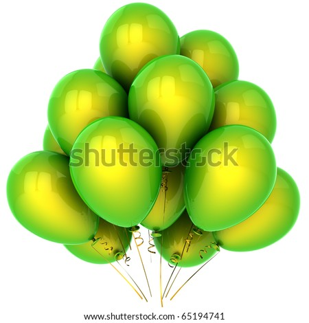 Party balloons birthday decoration green blank holiday celebration anniversary graduation retirement greeting card design element. 3d render isolated on white background