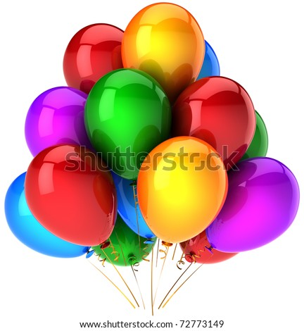 Party balloons birthday decoration multicolored colorful celebrate anniversary graduation retirement greeting card design element. Joy positive emotion abstract. 3d render isolated on white background