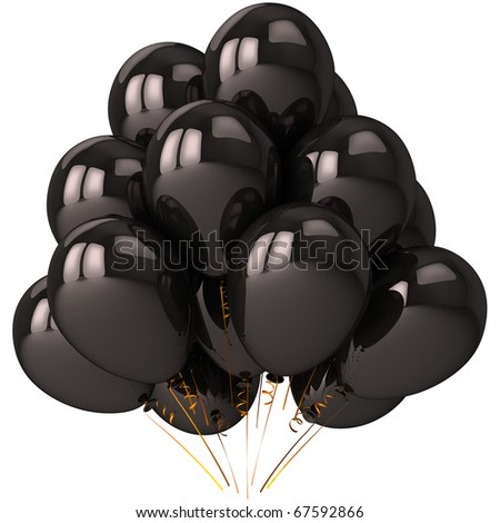 Party balloons black helium balloon baloons. Darkness celebrate decoration. Happy birthday greeting card design element. Stress negative emotion sorrow concept. 3d render isolated on white background - stock photo