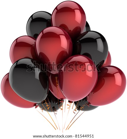 Party balloons black red happy birthday decoration multicolor balloon baloons. Anniversary graduation retirement occasion greeting card concept fun joy abstract. 3d render isolated on white background