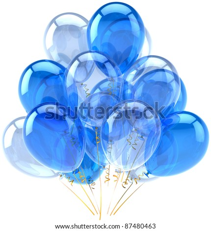 Party balloons blue cyan translucent. Happy birthday holiday anniversary retirement celebration decoration. Fun joy positive emotion abstract. Detailed 3d render. Isolated on white background